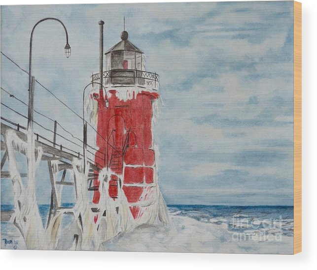Lighthouse Wood Print featuring the painting South Haven Lighthouse, South Have, Michigan by Regan J Smith