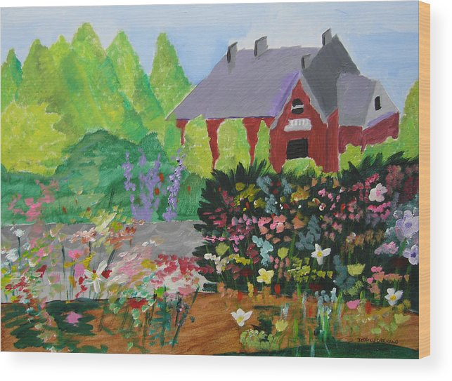 Gardens Wood Print featuring the painting Spring Garden by Jeff Caturano