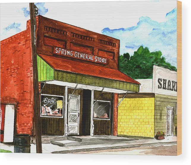 Kevin Callahan Wood Print featuring the painting Spring General Store Sharpsburgh Iowa by Kevin Callahan
