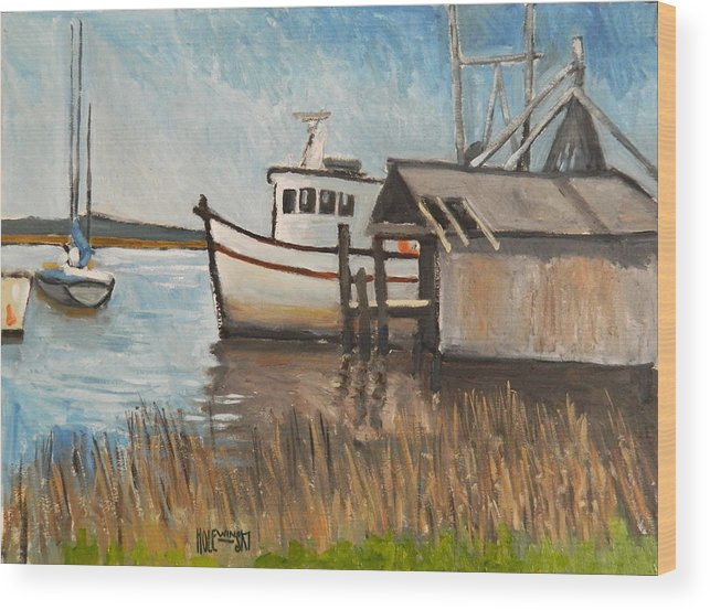 Boat Wood Print featuring the painting St Mary's Shrimp Boat by Robert Holewinski