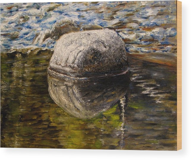 Landscape Wood Print featuring the painting Stone landscape original oil painting by Natalja Picugina