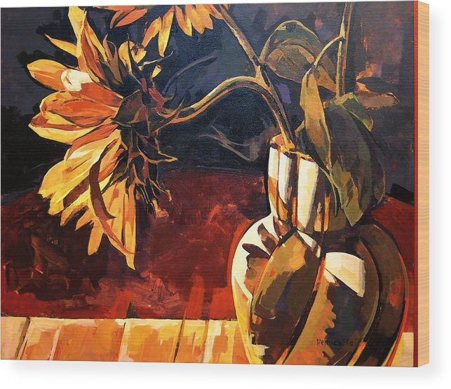 Canadian Wood Print featuring the painting Sunflowers In Italian Vase by Tim Heimdal