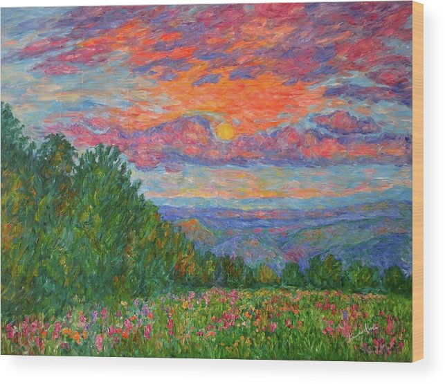 Landscapes For Sale Wood Print featuring the painting Sweet Pea Morning on the Blue Ridge by Kendall Kessler