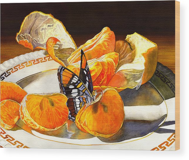 Butterfly Wood Print featuring the painting Tasty by Catherine G McElroy