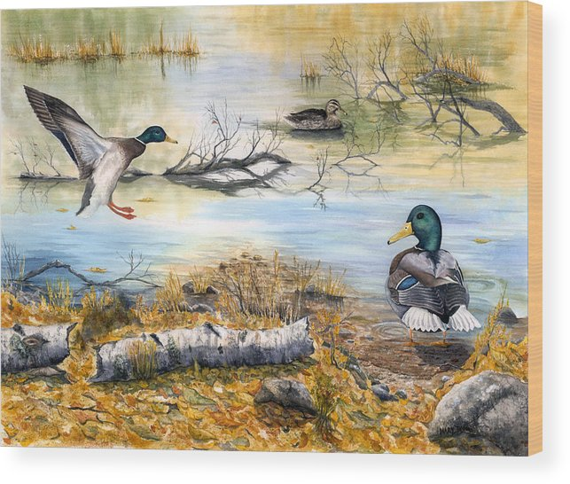 Mallerds Wood Print featuring the painting The Competition by Mary Tuomi