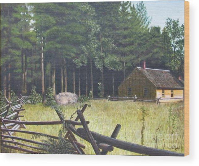 Landscape Wood Print featuring the painting The District School House by Donald Hofer