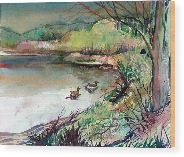 Ducks Wood Print featuring the painting The Duck Pond by Mindy Newman