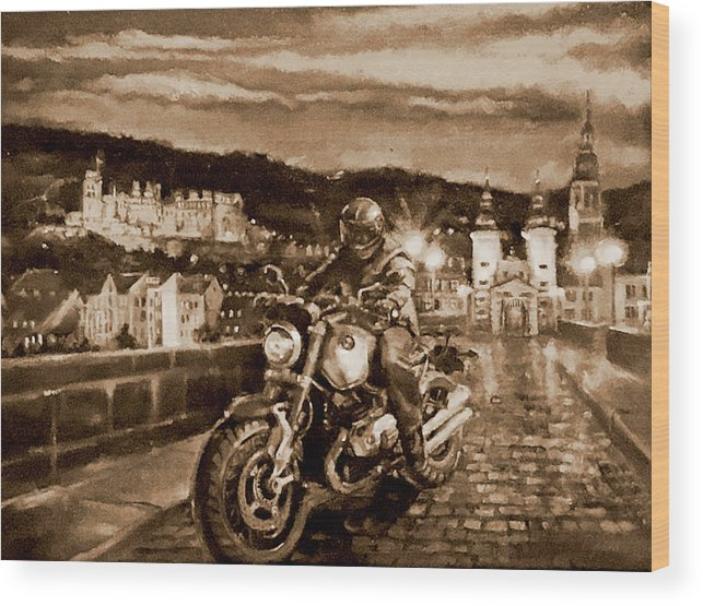 Sepia Painting Wood Print featuring the painting The Knight of Heidelberg-Sepia by BJ Lane