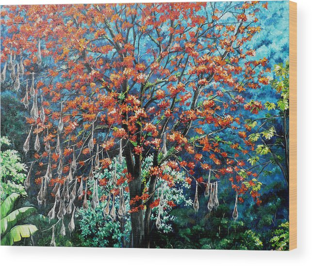 Tree Painting Mountain Painting Floral Painting Caribbean Painting Original Painting Of Immortelle Tree Painting  With Nesting Corn Oropendula Birds Painting In Northern Mountains Of Trinidad And Tobago Painting Wood Print featuring the painting The Mighty Immortelle by Karin Dawn Kelshall- Best