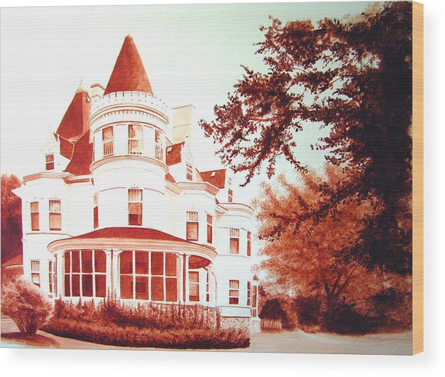 House Wood Print featuring the painting The Patton House by Scott Robinson