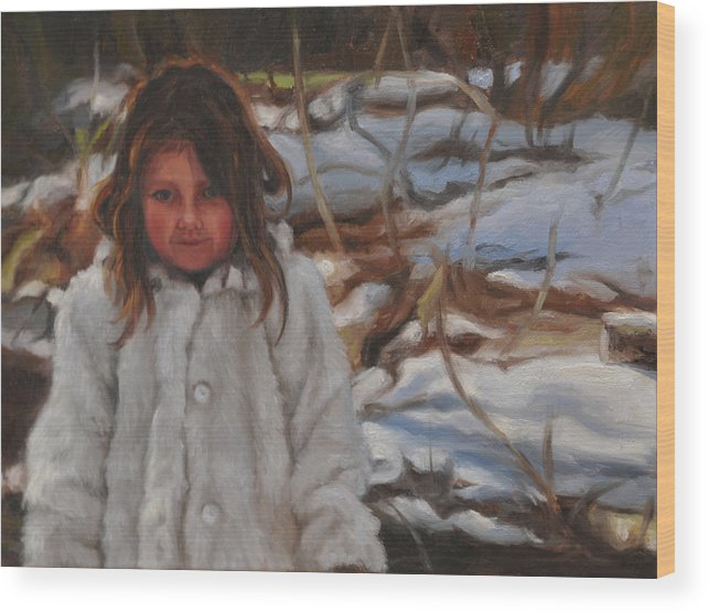 Portrait Wood Print featuring the painting The Snow Queen by Tahirih Goffic