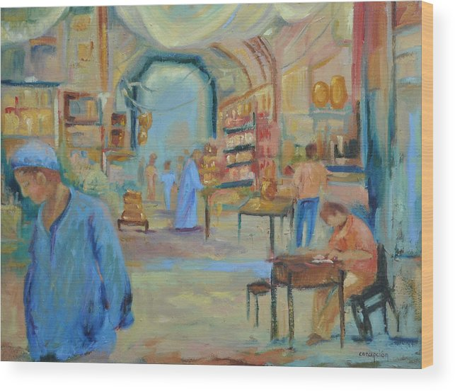 Figurative Wood Print featuring the painting The Souk by Ginger Concepcion
