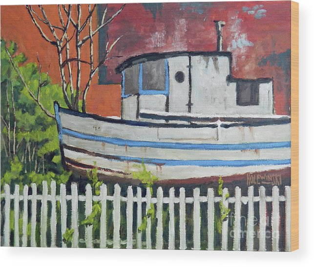 Boat Wood Print featuring the painting The Venezellos by Robert Holewinski