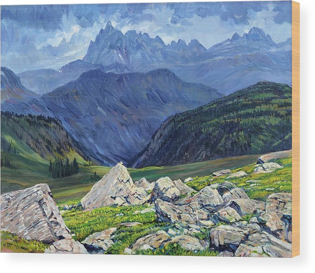 Wyoming Landscape Wood Print featuring the painting Thunderheads at Fox Creek Pass by Steve Spencer