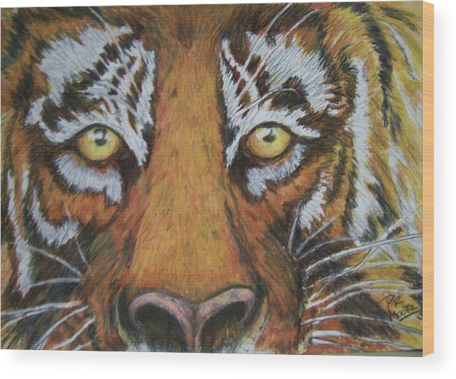 Wildlife Wood Print featuring the painting Tiger Eyes by Patricia R Moore