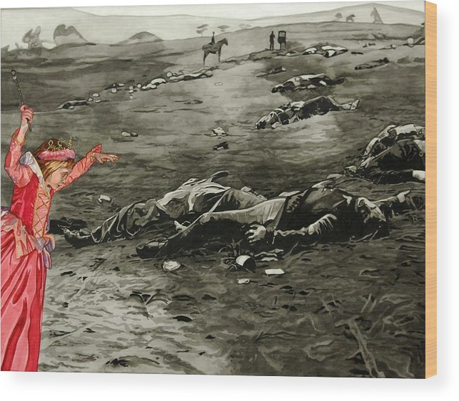 War Wood Print featuring the painting Too Late by Valerie Patterson