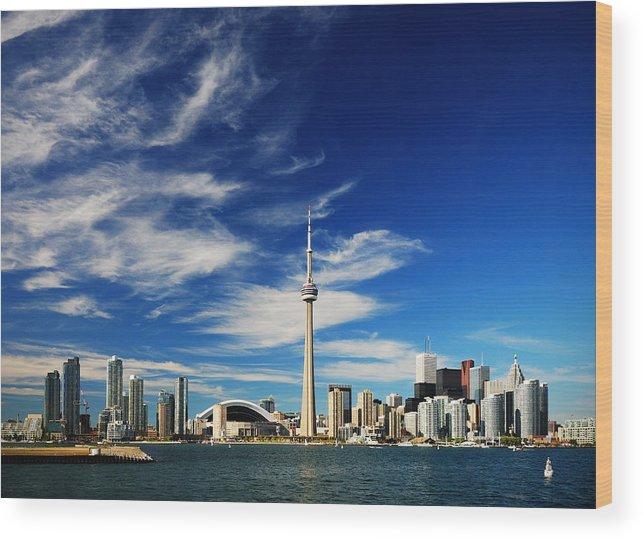 Toronto Wood Print featuring the photograph Toronto skyline by Andriy Zolotoiy