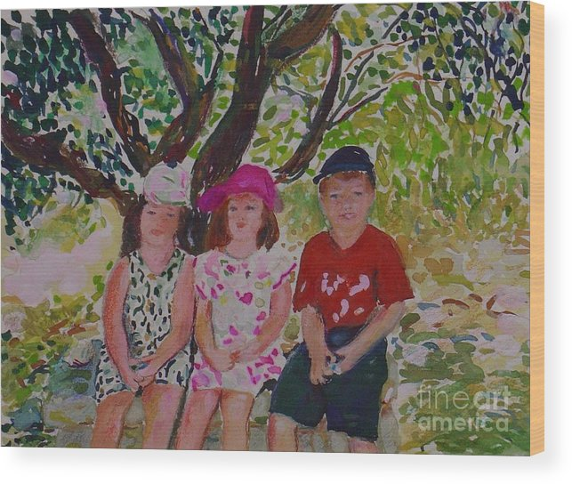 Portrait Children Original Illustration Leilaatkinson Wood Print featuring the painting Under the shade of a tree by Leila Atkinson