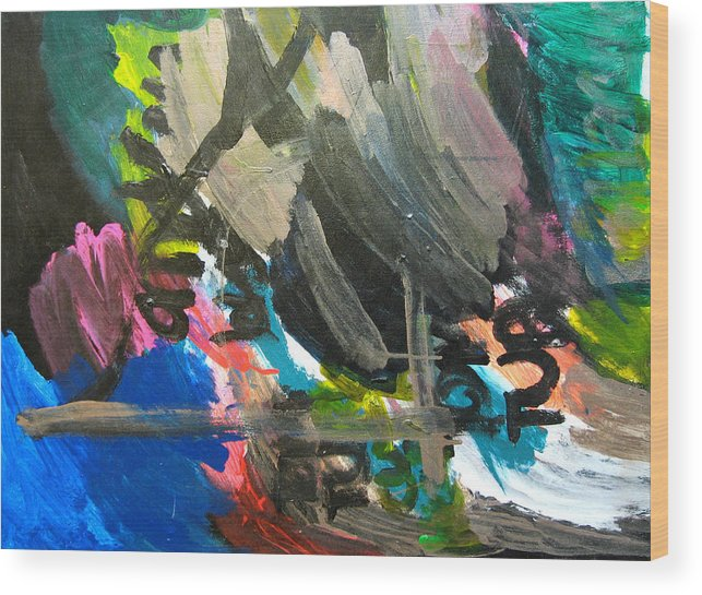 Abstract Wood Print featuring the mixed media Untitled by Andrew Hagopian