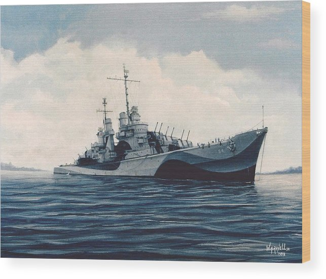 U. S. Navy Wood Print featuring the painting USS Cruiser San Juan by William H RaVell III