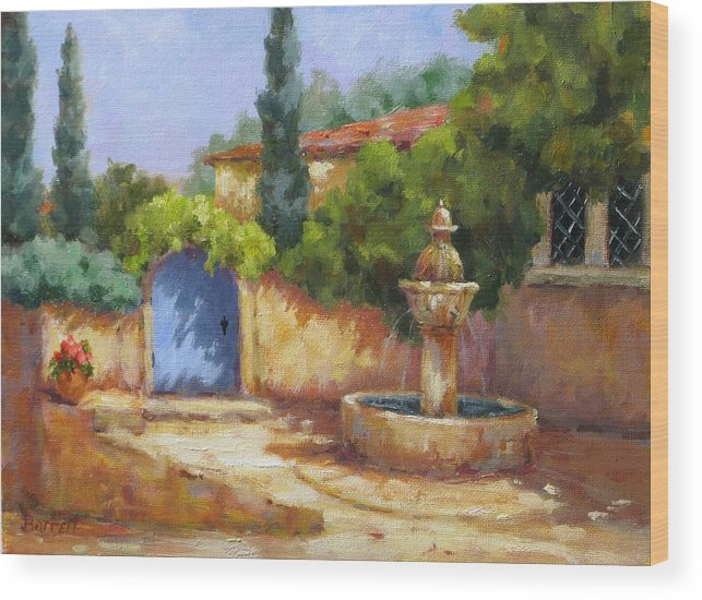Fountain Wood Print featuring the painting Vaison La Fontaine by Barrett Edwards