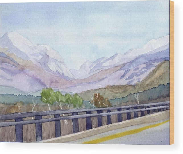 Franconia Notch Wood Print featuring the painting View of Franconia Notch by Sharon E Allen