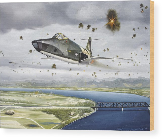 Military Wood Print featuring the painting Voodoo Vs The Dragon by Marc Stewart