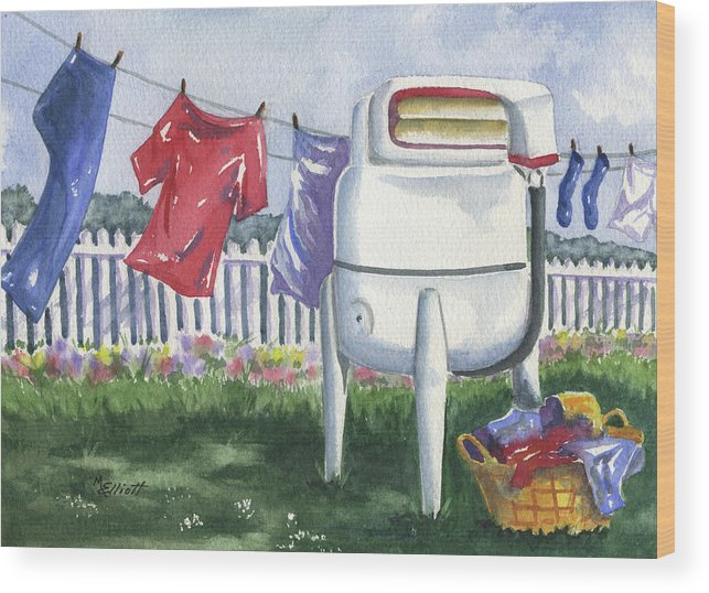 Wash Wood Print featuring the painting Wash Day Blues by Marsha Elliott