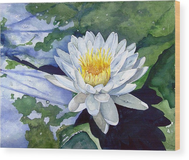 Flower Wood Print featuring the painting Water Lily by Sam Sidders
