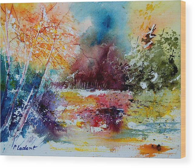 Pond Wood Print featuring the painting Watercolor 140908 by Pol Ledent