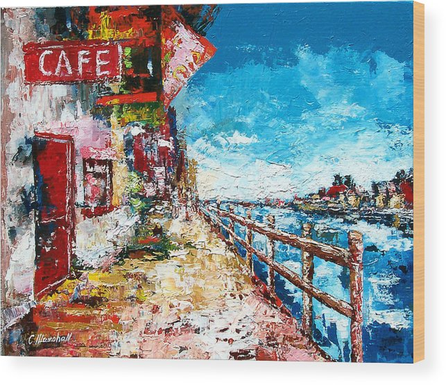 Art Wood Print featuring the painting Waterfront Cafe by Claude Marshall