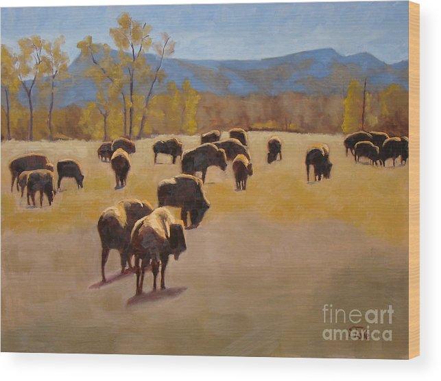Buffalo Wood Print featuring the painting Where the buffalo roam by Tate Hamilton