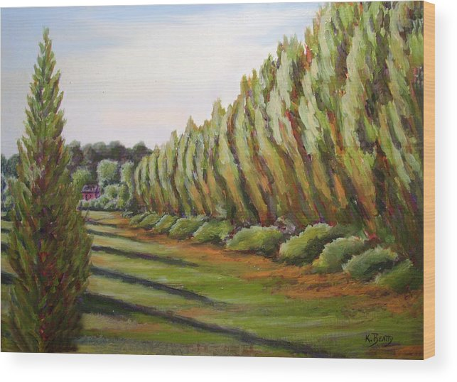 Oil Painting Wood Print featuring the painting Windbreak Evening by Karla Beatty