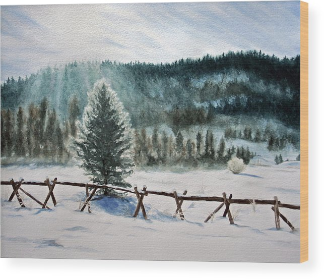Landscape Wood Print featuring the painting Winter Glow by Monika Degan