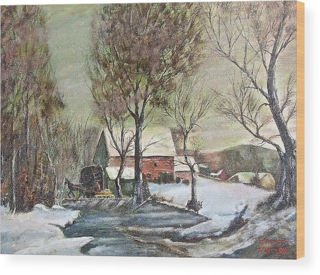 Landscape Painting Wood Print featuring the painting Winter scene with horse by Nicholas Minniti