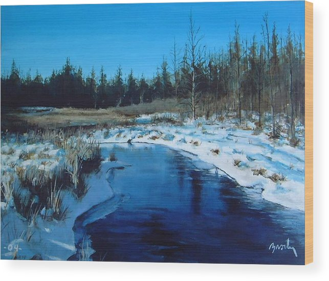 Landscape Realistic Wood Print featuring the painting Winter Stream by William Brody