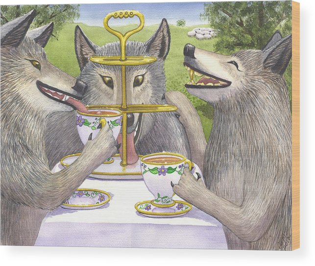 Wolf Wood Print featuring the painting Wolves Tea Party by Catherine G McElroy