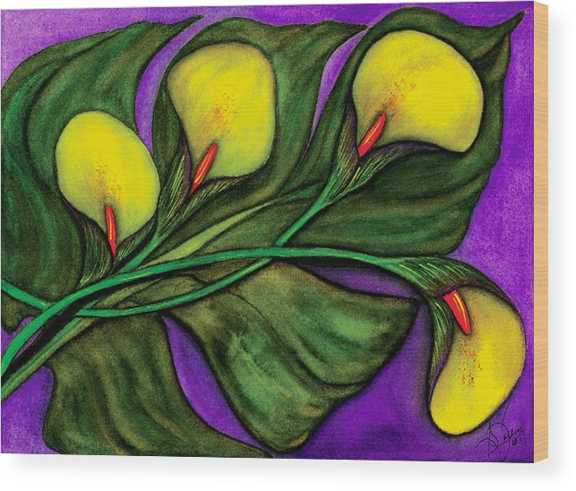 Calalilies Wood Print featuring the painting Yellow Calalilies by Stephanie Jolley