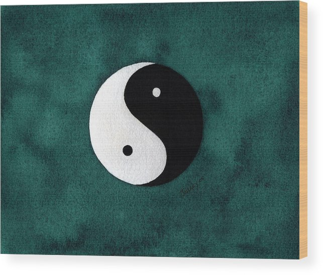 Yin-yang Wood Print featuring the painting Yin Yang by Stephanie Jolley