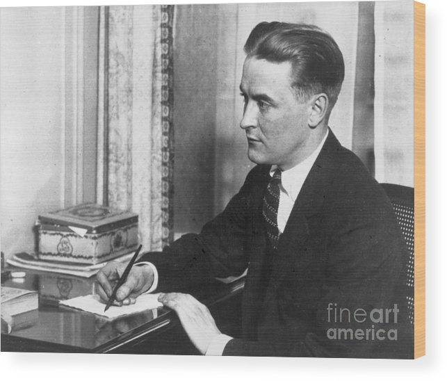 People Wood Print featuring the photograph F.scott Fitzgerald Writing At Desk by Bettmann