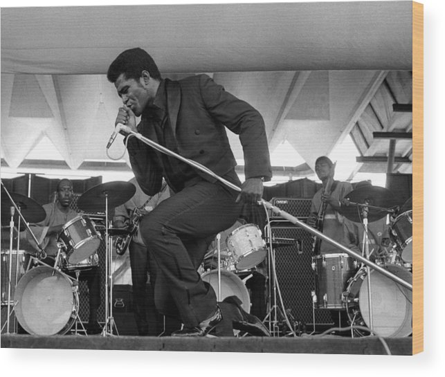 James Brown - Singer Wood Print featuring the photograph James Brown At Newport Jazz Festival by Tom Copi