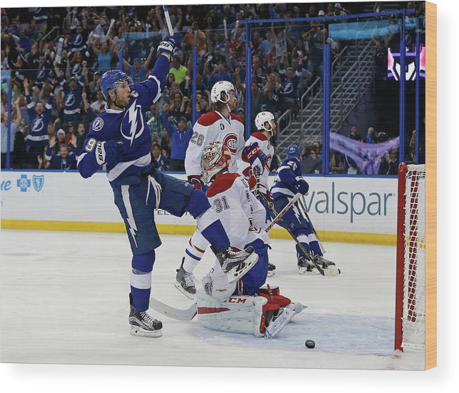 Playoffs Wood Print featuring the photograph Montreal Canadiens V Tampa Bay by Mike Carlson