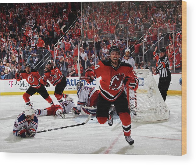Playoffs Wood Print featuring the photograph New York Rangers V New Jersey Devils - by Bruce Bennett