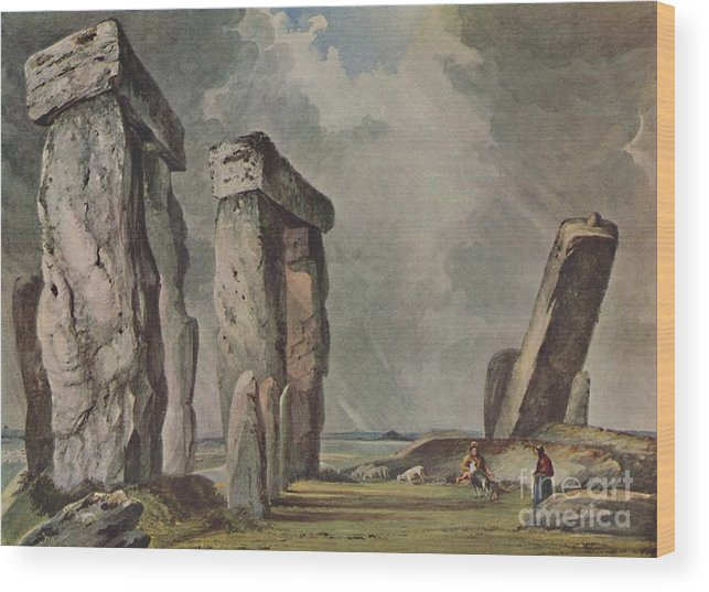 Unesco Wood Print featuring the drawing Stonehenge by Print Collector