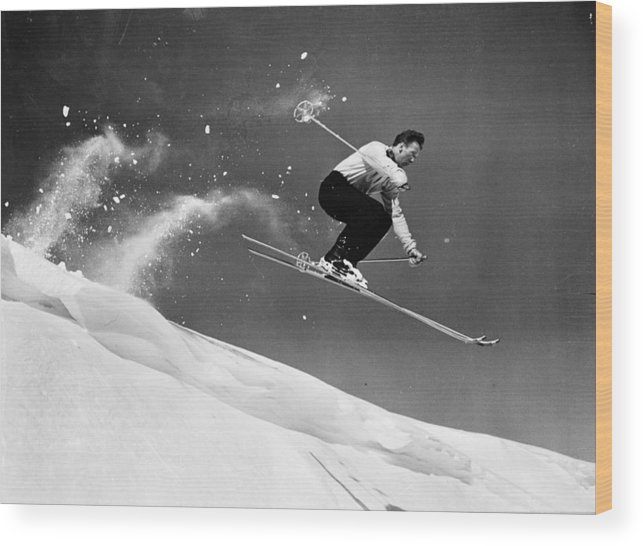 Skiing Wood Print featuring the photograph Sun Valley Skier by Keystone