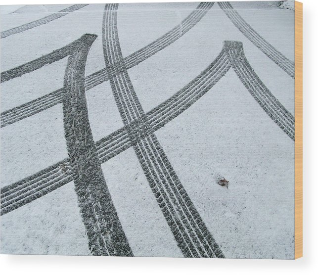 Black Color Wood Print featuring the photograph Tire Tracks In Snow, Winter by Jerry Whaley