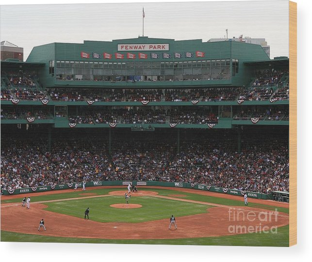 American League Baseball Wood Print featuring the photograph Toronto Blue Jays V Boston Red Sox by Travis Lindquist