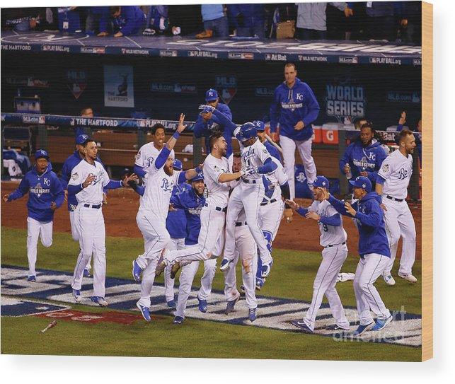 American League Baseball Wood Print featuring the photograph World Series - New York Mets V Kansas by Kyle Rivas