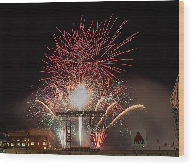 Firework Display Wood Print featuring the photograph Chicago White Sox V Houston Astros by Bob Levey