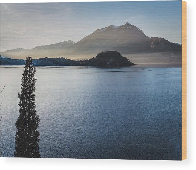 Scenics Wood Print featuring the photograph Como District Lake by Deimagine